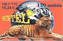 CARTE²-PREPAYEE-SUN TEL-100F/15,24€-TIGRE-31/12/2000-Gratté-Plastic Epais Glacé-TBE - Giungla