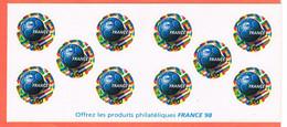 FRANCE   98   COUP DU MONDE   AUTOCOLLANTS - Gelegenheidsboekjes
