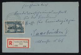 Saar 1949 Reg. Cover From Landsweiler-Reden To Saarbrücken, Bearing 50fr Blue-green Single Franking, MiNr. 251, Cat. €50 - Brieven En Documenten