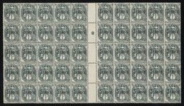 """Maroc 1918-24 TANGER Ovpt. On Blanc 1c Grey-green Gutter Block Of 50 With MILLESIME """"0"""", MNH ** / MH *, Yv. 80 - Neufs"""