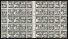 """Maroc 1918 TANGER Ovpt. On 1c Black Postage Due, Gutter Block Of 50 With MILLESIME """"0"""", MNH **, Yv. T35, Uncommon - Neufs"""
