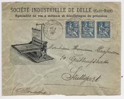 FRANCE MOUCHON 25C BANDE DE 3 LETTRE ENTETE STE INDUSTRIELLE DE DELLE HAUT RHIN GARE DE DELLE 3 JUIL 1902 POUR ALLEMAGNE - 1900-02 Mouchon