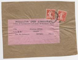 FRANCE SEMEUSE 3CX2 DEVANT ETIETTE BULLETIN DES LIBRAIRES PARIS 1934 AU TARIF - 1906-38 Semeuse Camée