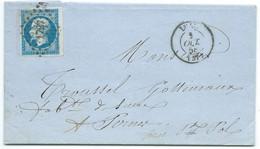 N° 14 BLEU NAPOLEON SUR LETTRE / LILLE POUR PERNES / 1 OCT 1858 - 1849-1876: Klassieke Periode
