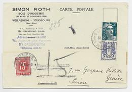 FRANCE GANDON 2FR +50C CHAINE CARTE PRIVEE SIMON ROTH STRASBOURG 1946 POUR PARIS REEX EN SUISSE TAXE 15C GENEVE - 1945-54 Marianne Of Gandon