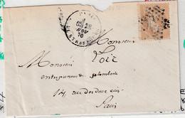 Lettre Avec Classiques De France: Napoléon N°28, De Paris Pour Paris Durant Le Siège, Novembre 1870 - 1863-1870 Napoleon III With Laurels
