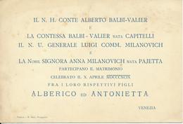 VENEZIA, 1899 - Faire Part De Mariage, Noblesse, Matrimonio - Wedding