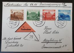 Deutsches Reich 1941, Nachnahme Satzbrief Mi 764-67 DUISBURG Nach Magdeburg - Storia Postale