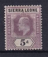 Sierra Leone: 1903   Edward     SG80     5d      MH - Sierra Leone (...-1960)