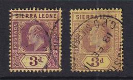 Sierra Leone: 1907/12   Edward     SG104/104b   3d   [Chalk And Ordinary]  Used - Sierra Leona (...-1960)