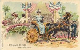 Illustrateur CARNAVAL  DE NICE  Bataille De Fleurs  Colorisée Pionnière Recto Verso - Carnival