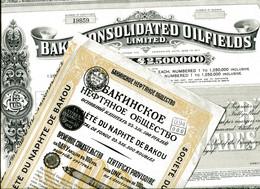 BAKU CONSOLIDATED OILFIELDS & Sté Du NAPHTE De BAKOU; Certificat Provisoire (2 Items) - Petrolio