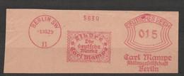 Deutsches Reich Briefstück Mit Freistempel Berlin SW 11 1929 Carl Mampe AG Liköre Die Deutsche Marke - Wein & Alkohol