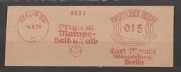 Deutsches Reich Briefstück Mit Freistempel Berlin SW 11 1929 Carl Mampe AG Liköre Original Mampe Halb Und Halb Elefant - Wein & Alkohol