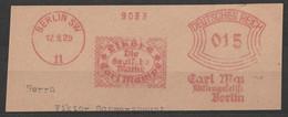Deutsches Reich Briefstück Mit Freistempel Berlin SW 11 1929 Liköre Carl Mampe Die Deutsche Marke Motiv Getränke - Poststempel - Freistempel
