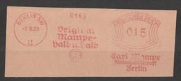 Deutsches Reich Briefstück Mit Freistempel Berlin SW 11 1929 Original Mampe Halb Und Halb Getränke Motiv Elefant - Poststempel - Freistempel