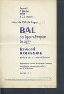 AFFICHE DE 1966 HÔTEL DE VILLE DE LAGNY BAL DES SAPEURS POMPIERS DE LAGNY RAYMOND BOISSERIE : - Pompiers