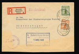 Reco Seestadt Rostock 2 1945 MiF Dienst Mi Nr. 153, 152 Le Flakabteilung 916 (O.)  An Kommandeur Flak Rostock SST NSDAP - Brieven En Documenten