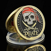 1 Pièce Plaquée OR ( GOLD Plated Coin ) - Pirate Corsaire Carte Au Trésor - Altre Monete