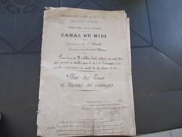 1883 Canal Du Midi Cers Villeneuve Plan Et Dessins D'ouvrages Prise D'eau Sahuc Portiragnes En L'état - Historical Documents
