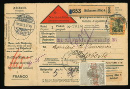 Nachnahme 1913 Mühlhausen Elsass Dollfus-Mieg & Cie Nach Rumänien Odobeste, MiF Mehrere Stempel U.a. Burdujeni - Brieven En Documenten