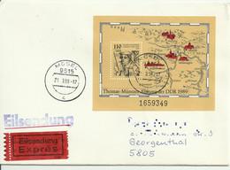"DDR Brief ""Eilsendung Expres"" Mosel 1989. Mi 97 ""Thomas Muntzer"". Ankunftsstempel. See Scans. - Storia Postale"