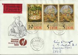 """DDR Brief """"Eilsendung Expres"""" Waldenburg 1989. Mi 3269, 3270 """"Thomas Muntzer"""". Ankunftsstempel. See Scans. - Storia Postale"""