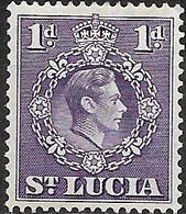 ST LUCIA 1938 King George VI - 1d - Violet MH - St.Lucia (...-1978)