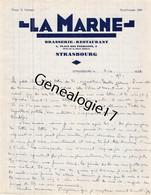 67 1095 STRASBOURG Bas Rhin 1938 Brasserie LA MARNE Des Ets E. FRITSCH Restaurant Place Des Etudiants - 1900 – 1949