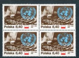 POLAND 1980 UNO Anniversary Block Of 4 MNH / **.  Michel 2713 - Unused Stamps
