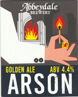 ABBEYDALE BREWERY   (SHEFFIELD, ENGLAND) - ARSON GOLDEN ALE - PUMP CLIP FRONT - Signs