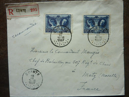 1927  Lettre  Cachet Cointe   2 Timbres   PERFECT - Storia Postale