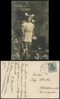Ansichtskarte  Glückwunsch Ostern Easter Mädchen Mit Kopfschmuck 1910 - Easter