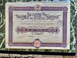 GRANDE  BRASSERIE  ORLÉANAISE  SCHMETZ --------- Action  De  100 Frs - Unclassified
