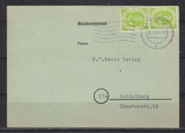 Bund BÜCHERZETTEL Mit MeF Posthorn 2x MiNo. 123 Von Würzburg/27.2.53 Nach Heidelberg - Lettres & Documents