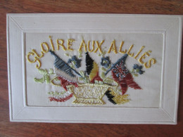 Cartes Brodee Gloire Aux Allies  , Drapeau - Embroidered