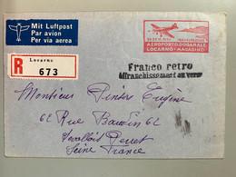 Poste Aérienne Marcophilie Affranchissement Au Verso Franco Rétro Locarno Vers Levallois Perret 24/06/1939 Inauguration - Used Stamps