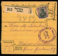 Paketkarte 1915 ?  EF Mi Nr. 21 ? Aus Saarburg Lothringen Nach Kaiserslautern, SST Landsturm Inf. Batl. Neustadt - Brieven En Documenten