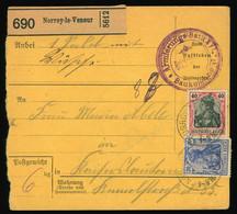 Paketkarte Um 1915  MiF Germania Aus Norroy-le-Veneur France Nach Kaiserslautern, SST Armierungs-Batl. Bautrupp - Brieven En Documenten