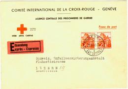 "Portofreier Brief Des ""Comite International De La Croix-Rouge"" In Genf. Frankatur Für Expres. - Franquicia"