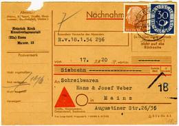 Nachnahmekarte Mit Heuss 4 Pfg. Und Posthorn 30 Pfg. - Lettres & Documents