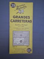 MICHELIN - ANCIENNE CARTE AU 1/1.000.000 - ESPAGNE PORTUGAL GRANDES CARRETERAS  - N° 39 -  EDITION 1951 - Callejero