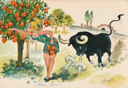1045 - CARTE CUEILLETTE D'ORANGES . PIN UP TAURAU ILLUST GART - Humor
