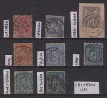 Type Sage - Lot De 8 Timbres Avec Obliterations Du Departement Du Calvados - 1876-1898 Sage (Type II)