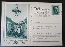 """Deutsches Reich 1938, Postkarte P265 """"Erntedankfest"""" EGER Sonderstempel - Storia Postale"""