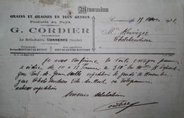 G 15 Lettre/document/facture Grains à Connérré - Agriculture