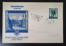 Deutsches Reich 1938, Postkarte Volksabstimmung TIROL Sonderstempel - Covers & Documents