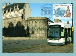 Carte Maximum 2003 - Nantes Pays De Loire - Le Tramway Et La Tour LU - YT 3552 - 44 Nantes - 2000-09