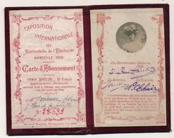 Marseille (Bouches Du Rhône) - Carte D'Abonnement EXPOSITION INTERNATIONALE APPLICATIONS DE L'ELECTRICITE 1908 - Tickets - Vouchers