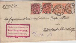 DR-Infla - 1 M. Ziffer/Dienst U.a. Zustellurkunde Erfurt - Steinbach 1921 - Oficial
